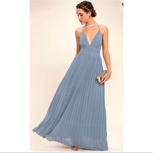 Depths of My Love Dusty Blue Maxi Dress